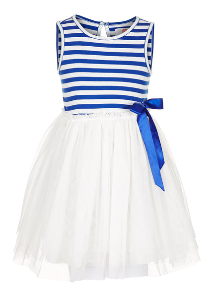 White Stripe Dress - The Cranberry Club - kids clothing - Party Dresses Younger