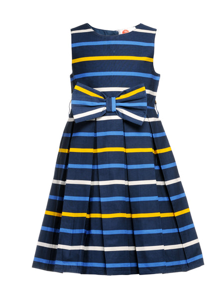 Stripe Bow Dress - The Cranberry Club - kids clothing - Casual Dresses