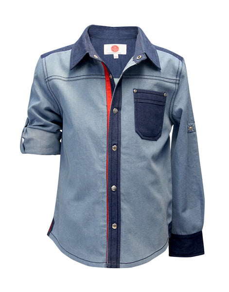 Denim Washed Shirt - The Cranberry Club - kids clothing - Boys Shirt