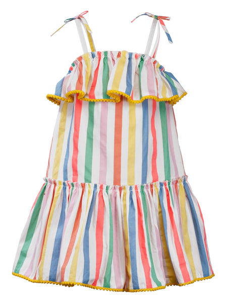 Multi color Stripes Sun Dress - The Cranberry Club - kids clothing - Casual Dress