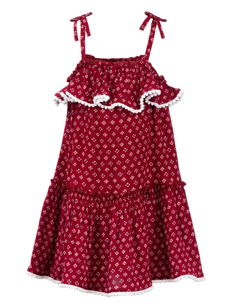 Maroon ditsy Print Sun Dress - The Cranberry Club - kids clothing - Casual Dress