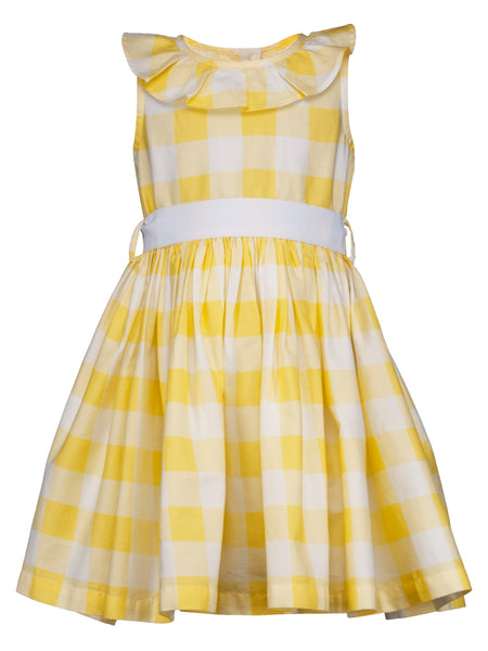 Yellow Check Ruffle Dress - The Cranberry Club - kids clothing - Casual Dress