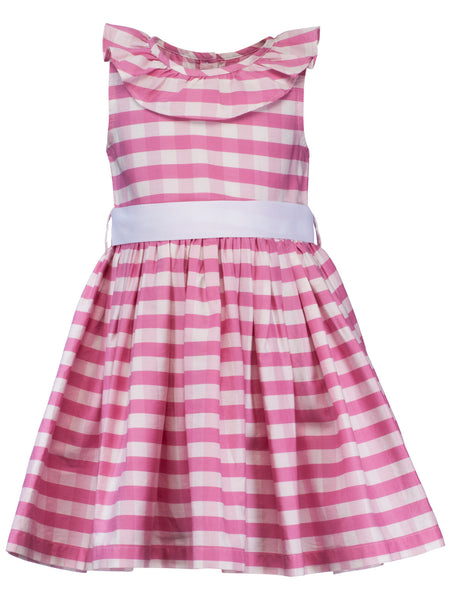 Pink Check Ruffle Dress - The Cranberry Club - kids clothing - Casual Dress