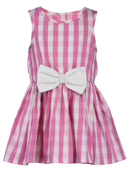 Pink Check Dress With Big Bow Dress - The Cranberry Club - kids clothing - Cranberry Classics Younger