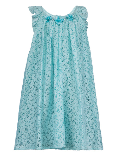 Aqua Blue Lace Dress - The Cranberry Club - kids clothing - Casual Dress