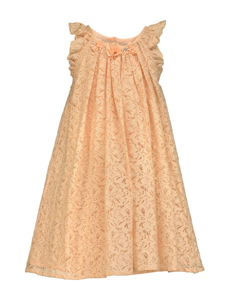 Peach Lace Dress - The Cranberry Club - kids clothing - Casual Dress