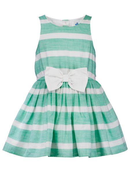 Green Stripes Bow Dress - The Cranberry Club - kids clothing - Cranberry Classics Younger