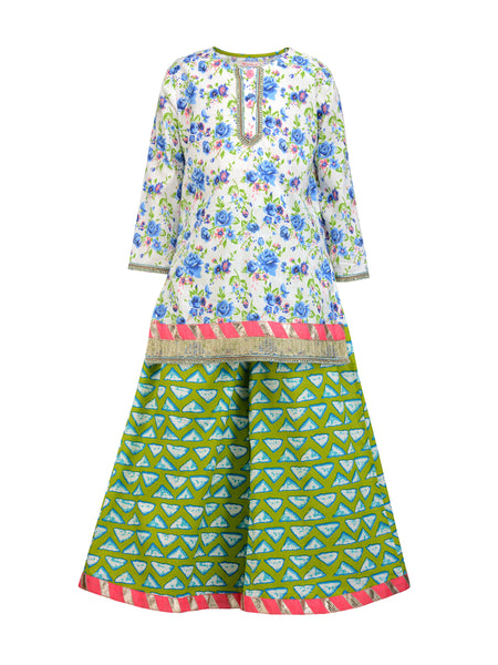 Floral Kurta And Palazzo Set - The Cranberry Club - kids clothing - Girls Ethnic Set
