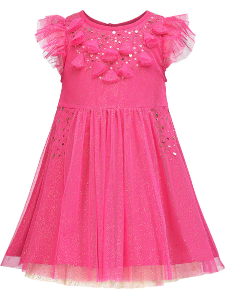 Pink Foil Embellished Dress - The Cranberry Club - kids clothing - Casual Dresses