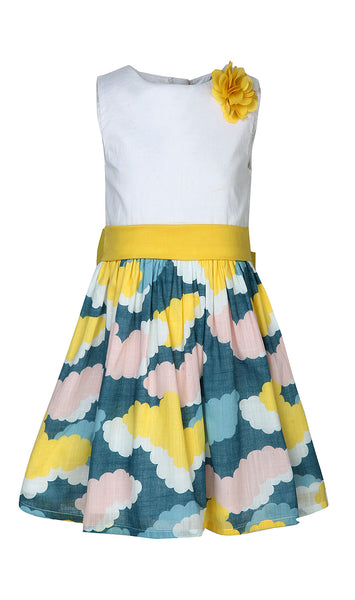 Cloud Printed Dress With Big Bow At Back - The Cranberry Club - kids clothing - Casual Dresses