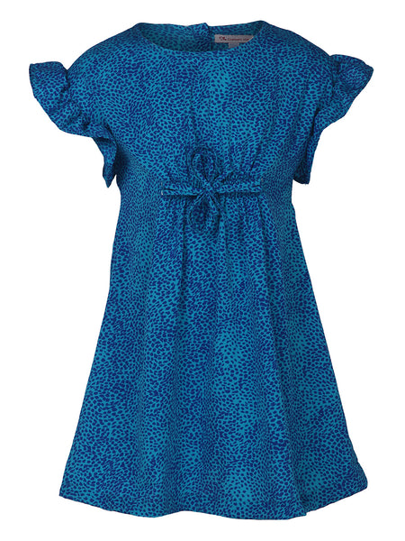 Blue Leopard Dress With Dori Tieup At Front - The Cranberry Club - kids clothing - Casual Dress