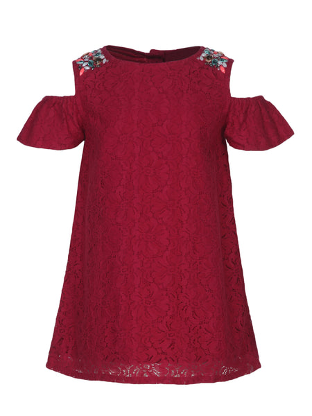 Embellished Shoullder Lace Fabric Dress - The Cranberry Club - kids clothing - Casual Dresses