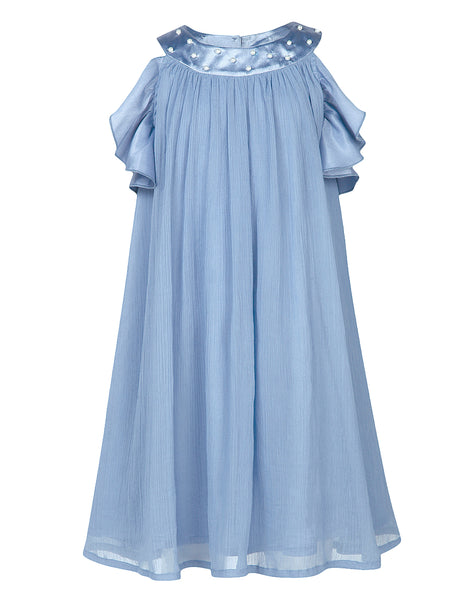 Ruffle Sleeves Dusk Blue Dress - The Cranberry Club - kids clothing - Party Dresses
