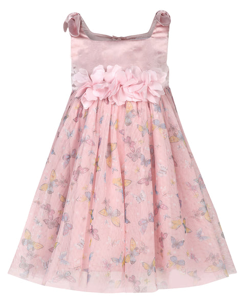 Butterfly Printed Knotted Dress - The Cranberry Club - kids clothing - Party Dresses