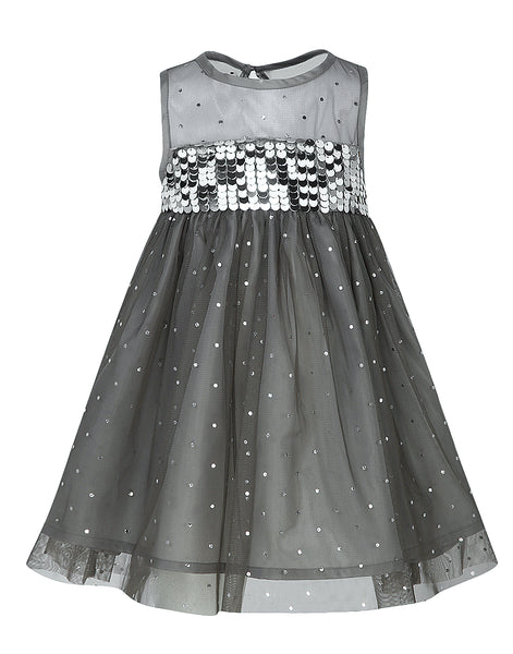 Grey Glitter Dress - The Cranberry Club - kids clothing - Party Dresses