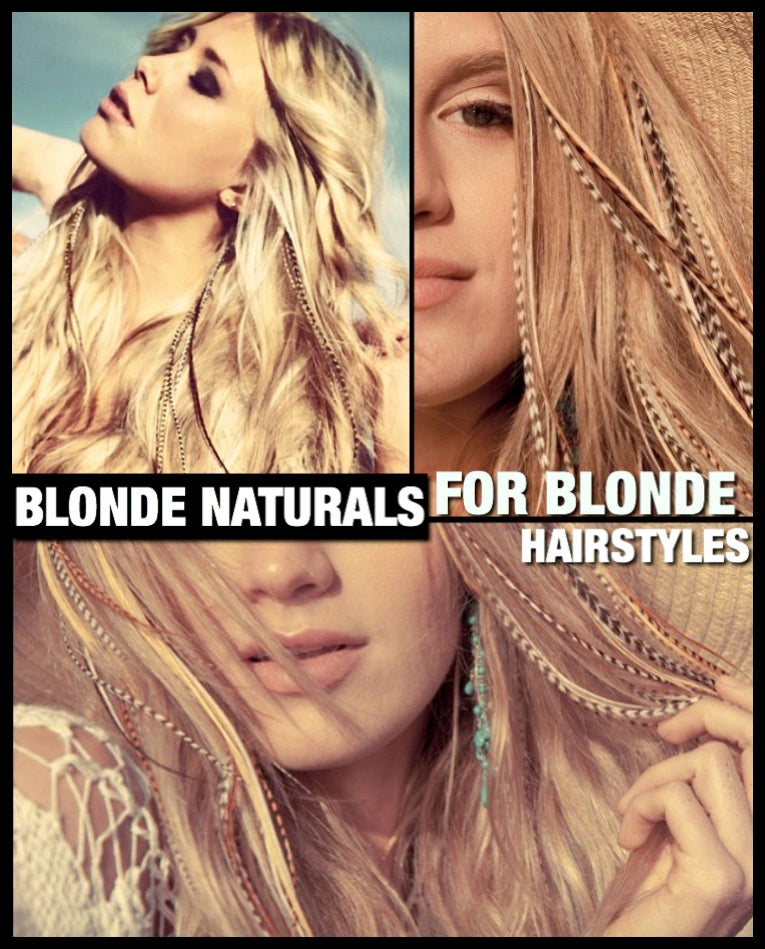 Blonde Natural Feather Hair Extensions For Blonde Hair 6pc Pack