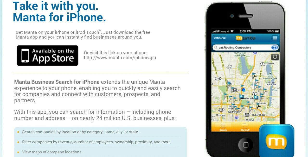 Get Manta on your iPhone or Droid