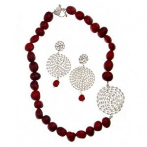 Hand-made sterling silver passion red necklace - Available online for $245 -http://www.ebrooksdesigns.com/product/nazca-infinity-earrings-with-matching-nazca-necklace-2