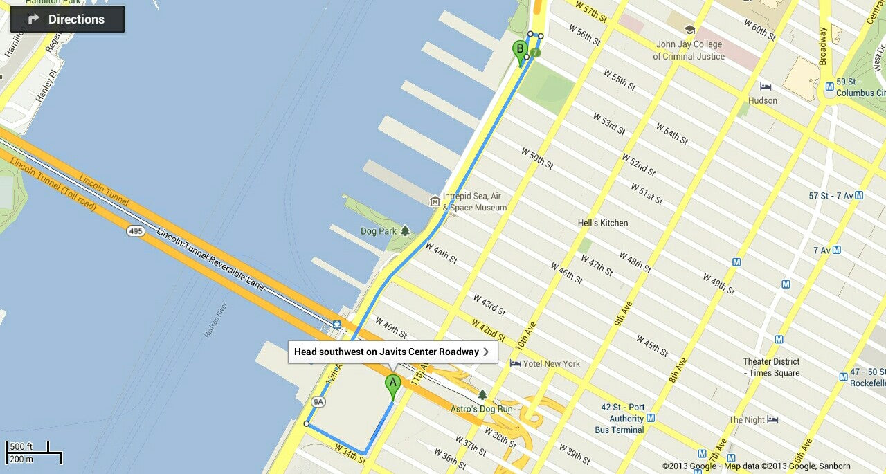 How far away Pier 94 is! It's a 10-minute drive in good traffic!