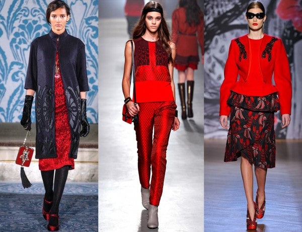 Red is blazing through international fashion weeks this fall! (Photo courtesy of Accessories Magazine).