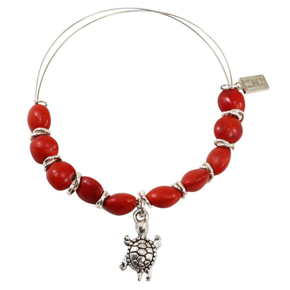 Adjustable Turtle Charm Bangle/Bracelet for Women w/ Huayruro Red Seed - EvelynBrooksDesigns