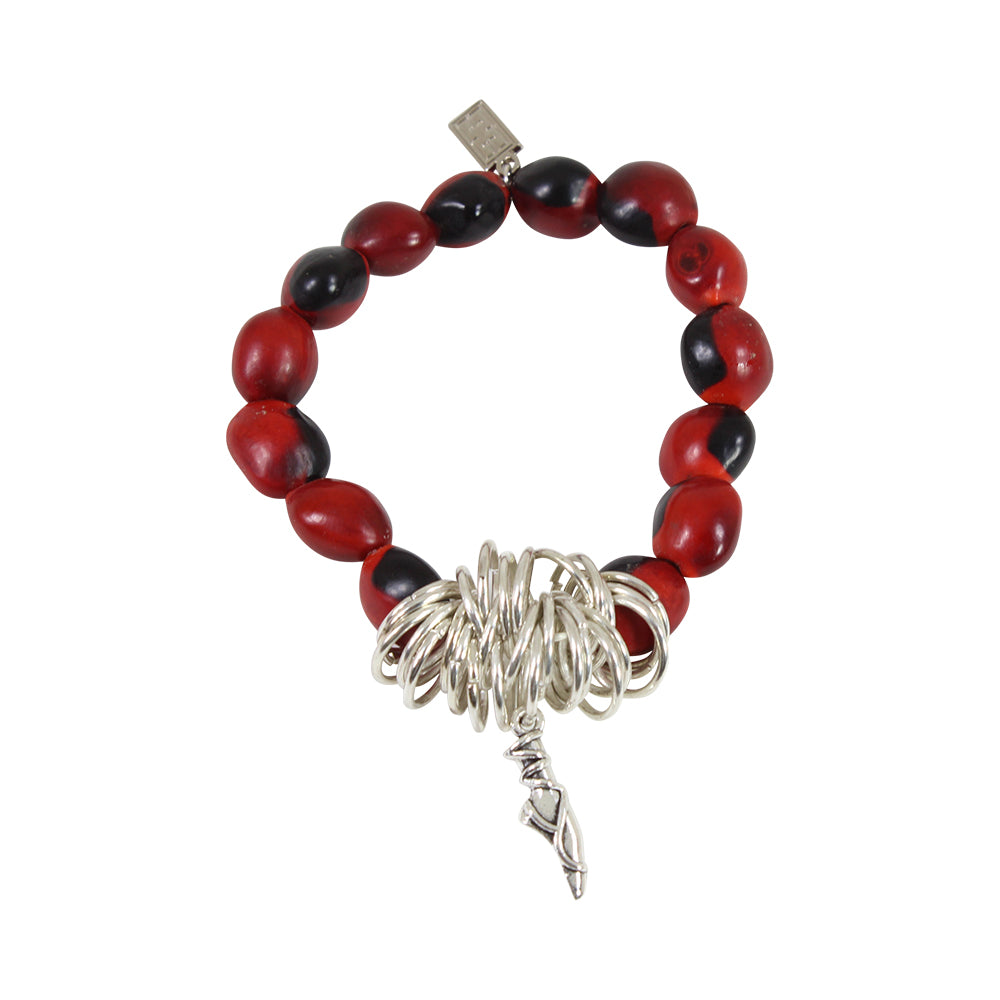 Ballerina Dancer Charm Stretchy Bracelet w/Meaningful Good Luck, Prosperity, Love Huayruro Seeds