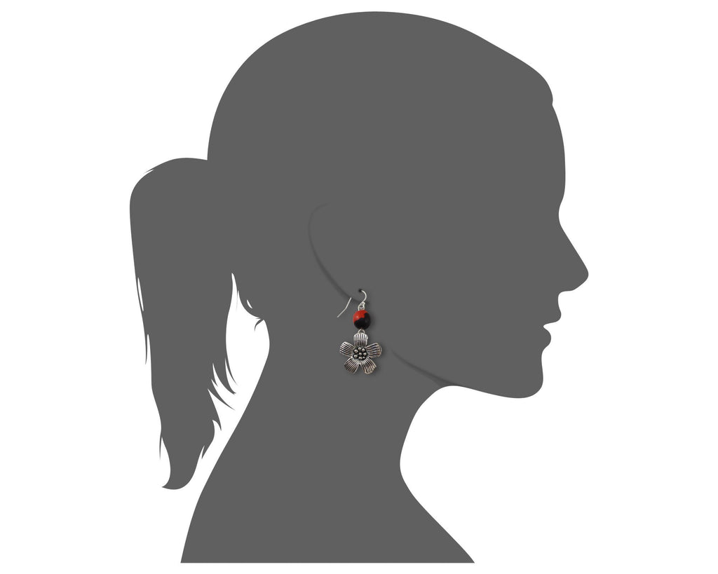 Beautiful Plum Blossom Dangle Silver Earrings w/Meaningful Good Luck Huayruro Seeds - EvelynBrooksDesigns