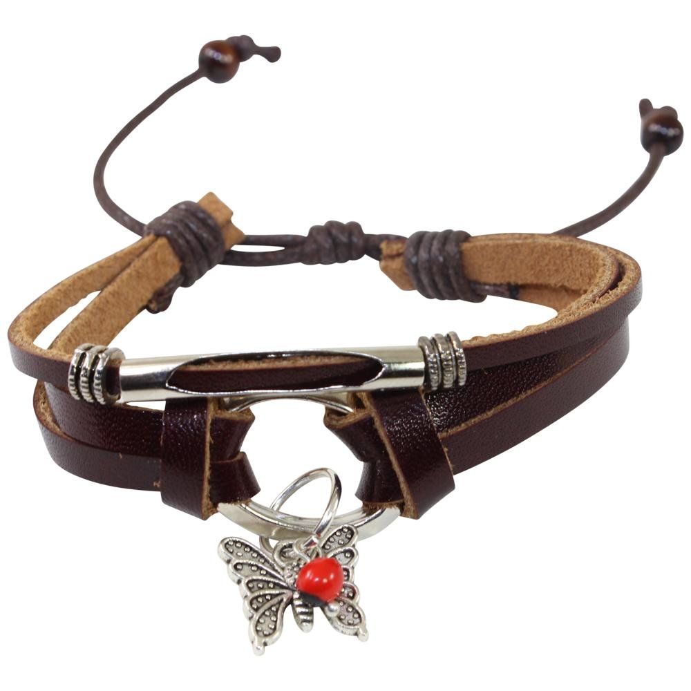 Butterfly Charm Adjustable Leather Bracelet for Women w/Huayruro Seed - EvelynBrooksDesigns