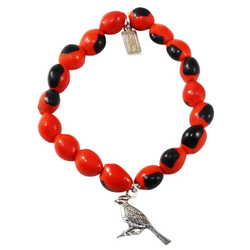 Cardinal Charm Stretchy Bracelet w/Meaningful Good Luck, Prosperity, Love Huayruro Seeds - EvelynBrooksDesigns