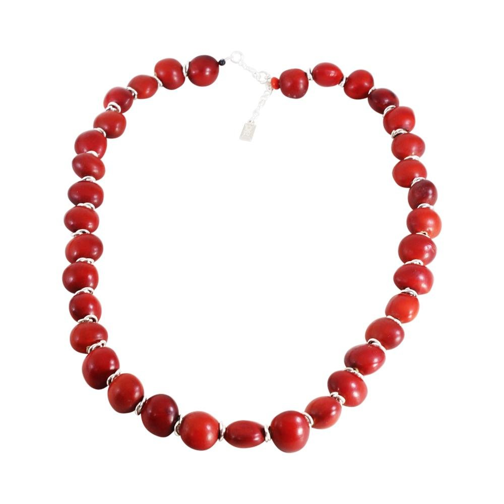 "Classic ""Ecofriendly"" Adjustable Red Necklace for Women w/Meaningful Seed Beads 18""-20"" - EvelynBrooksDesigns"