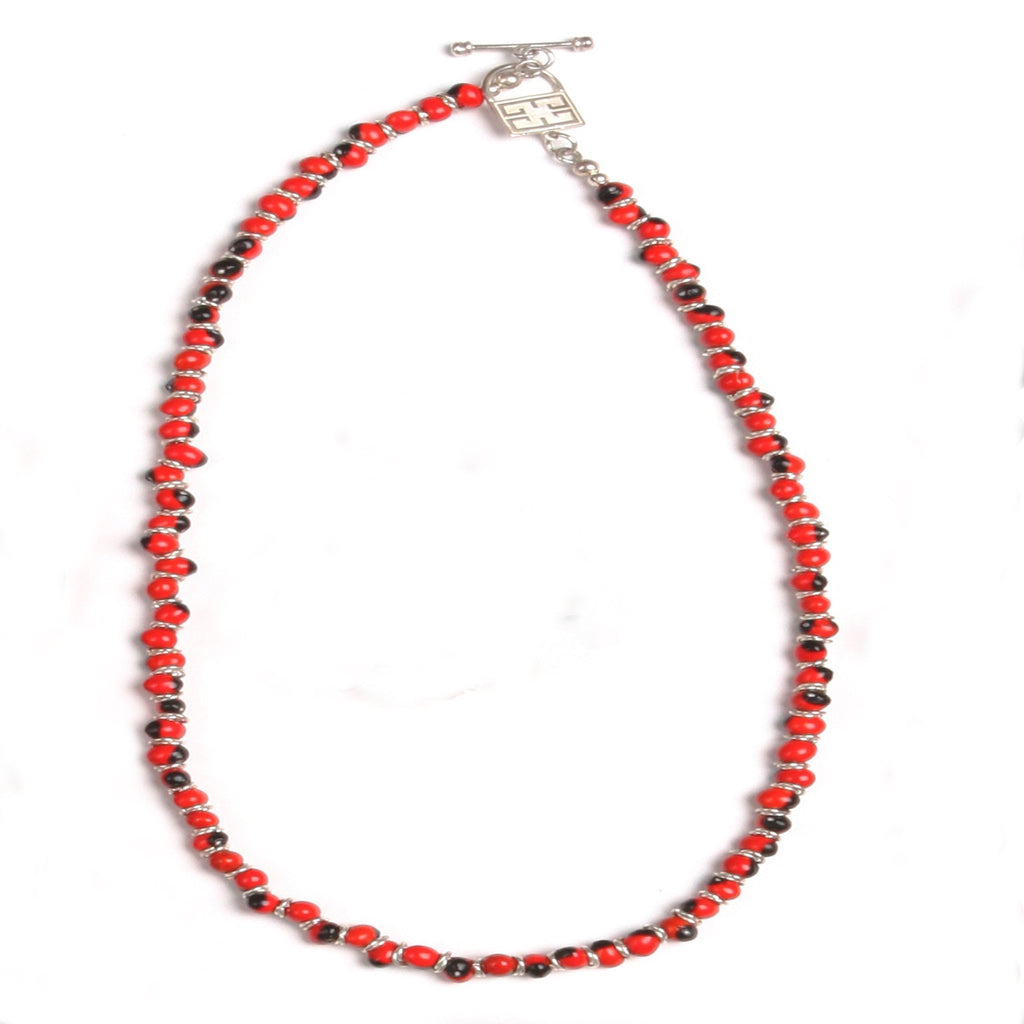 "Classic Good Luck Necklace for Women w/Meaningful Red Black Seed Beads Strand 18""-20"" - EvelynBrooksDesigns"