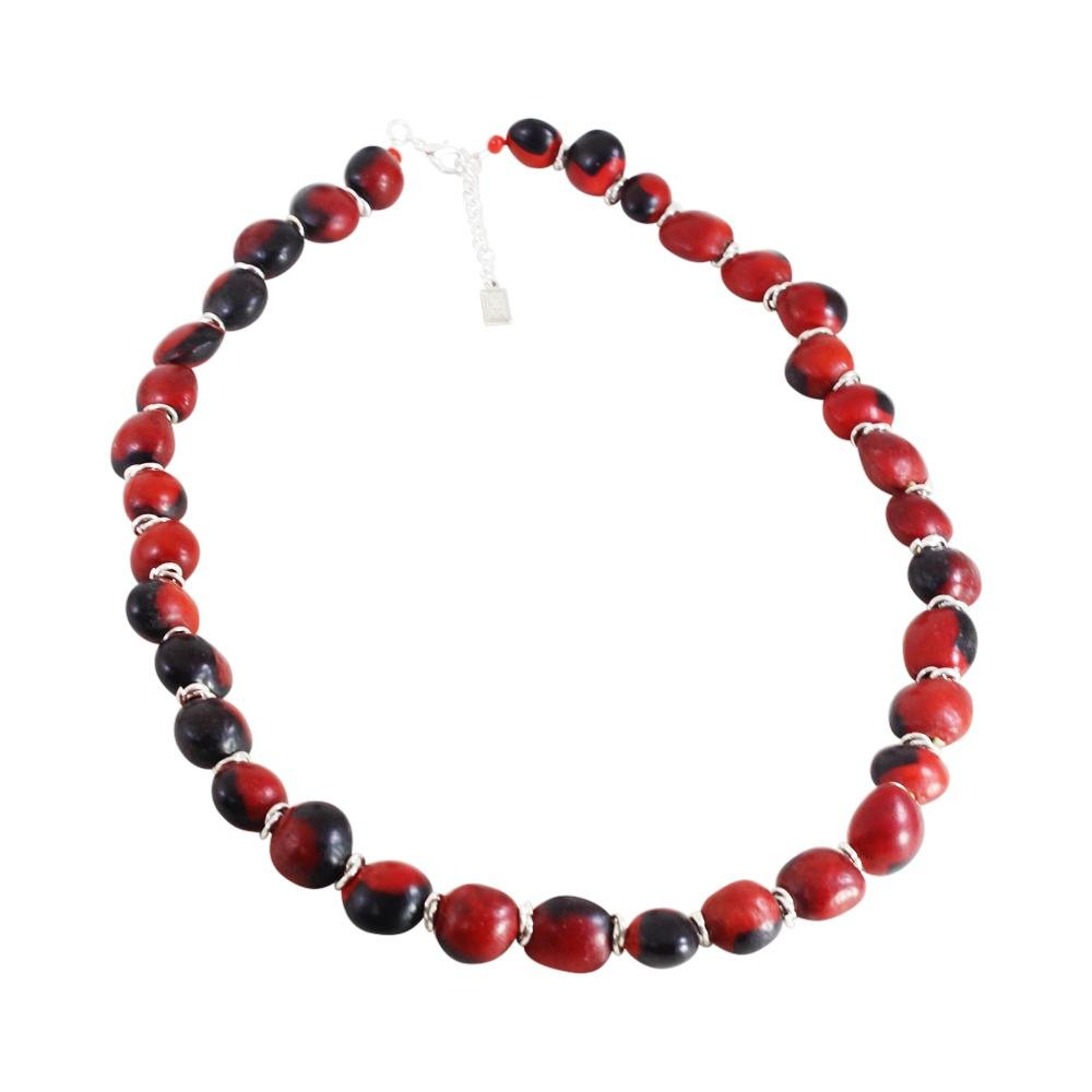 "Classic Red & Black Adjustable Necklace w/Meaningful Peruvian Seed Beads 18""-20"" - EvelynBrooksDesigns"