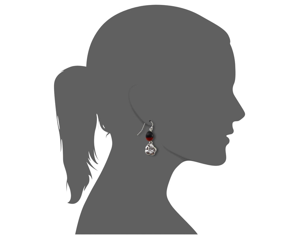 Dainty Hibiscus Dangle Earrings w/Meaningful Good Luck Huayruro Seeds - EvelynBrooksDesigns