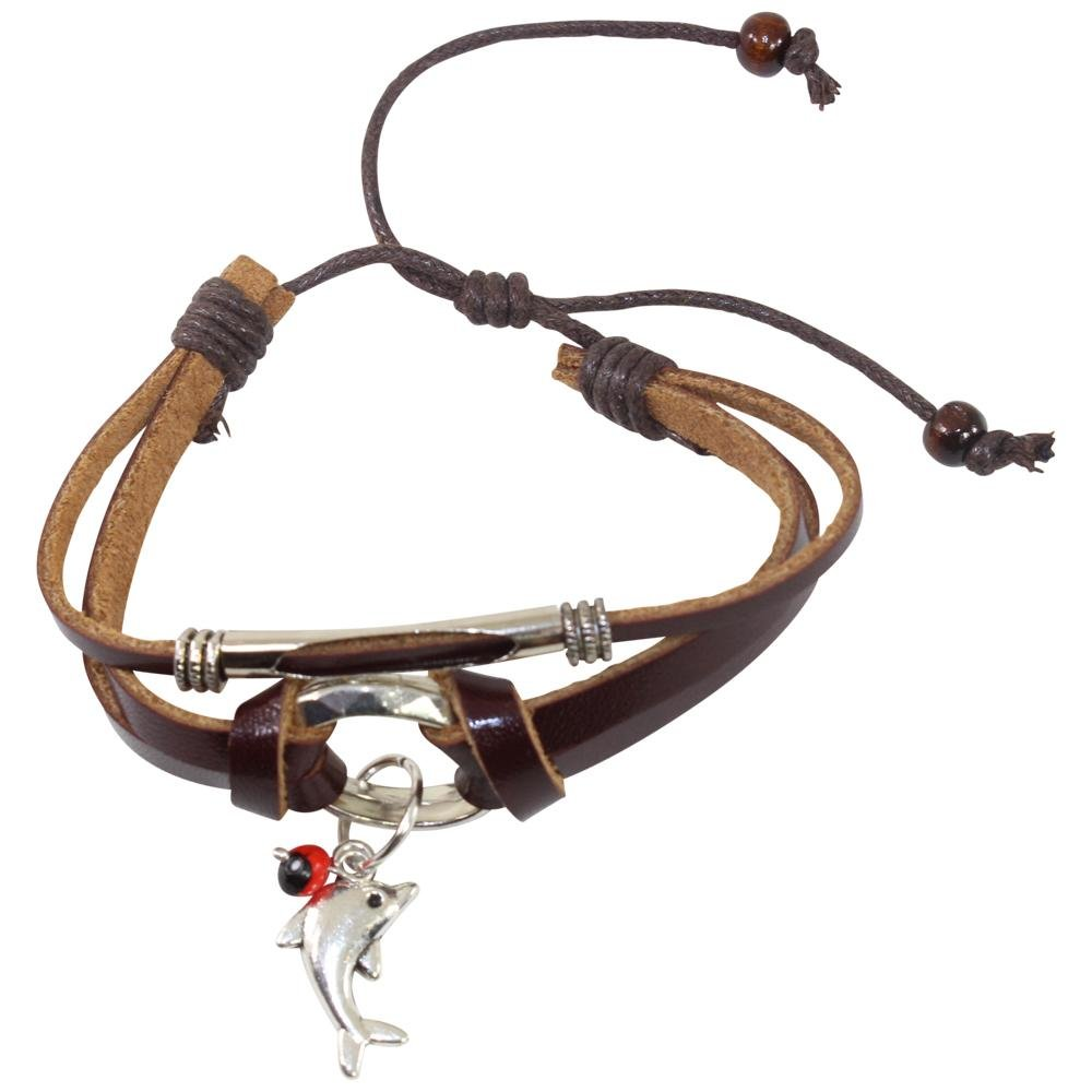 Dolphin Charm Adjustable Leather Bracelet for Women w/Meaningful Good Luck Huayruro Seed - EvelynBrooksDesigns
