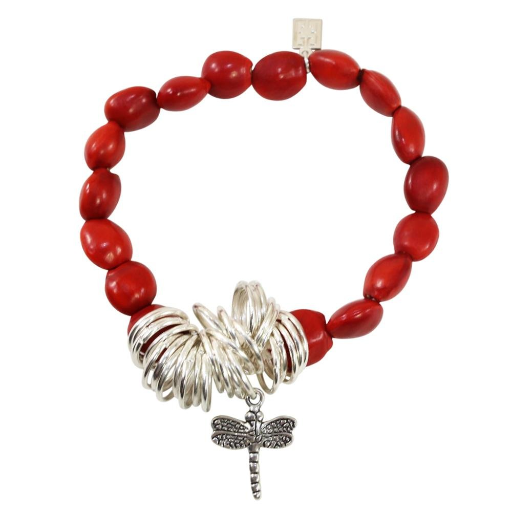 Dragonfly Charm Stretchy Bracelet w/Meaningful Good Luck, Prosperity, Love Huayruro Seeds - EvelynBrooksDesigns
