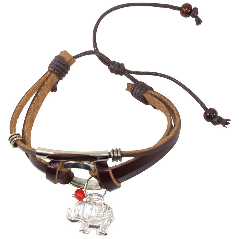 Elephant Charm Adjustable Leather Bracelet for Women w/Huayruro Seed - EvelynBrooksDesigns