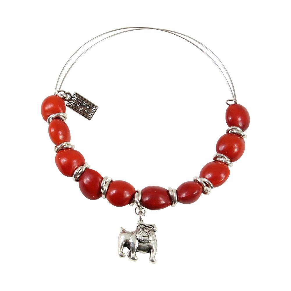 English Bulldog Charm Adjustable Bangle Bracelet w/Meaningful Good Luck Huayruro Seeds - EvelynBrooksDesigns