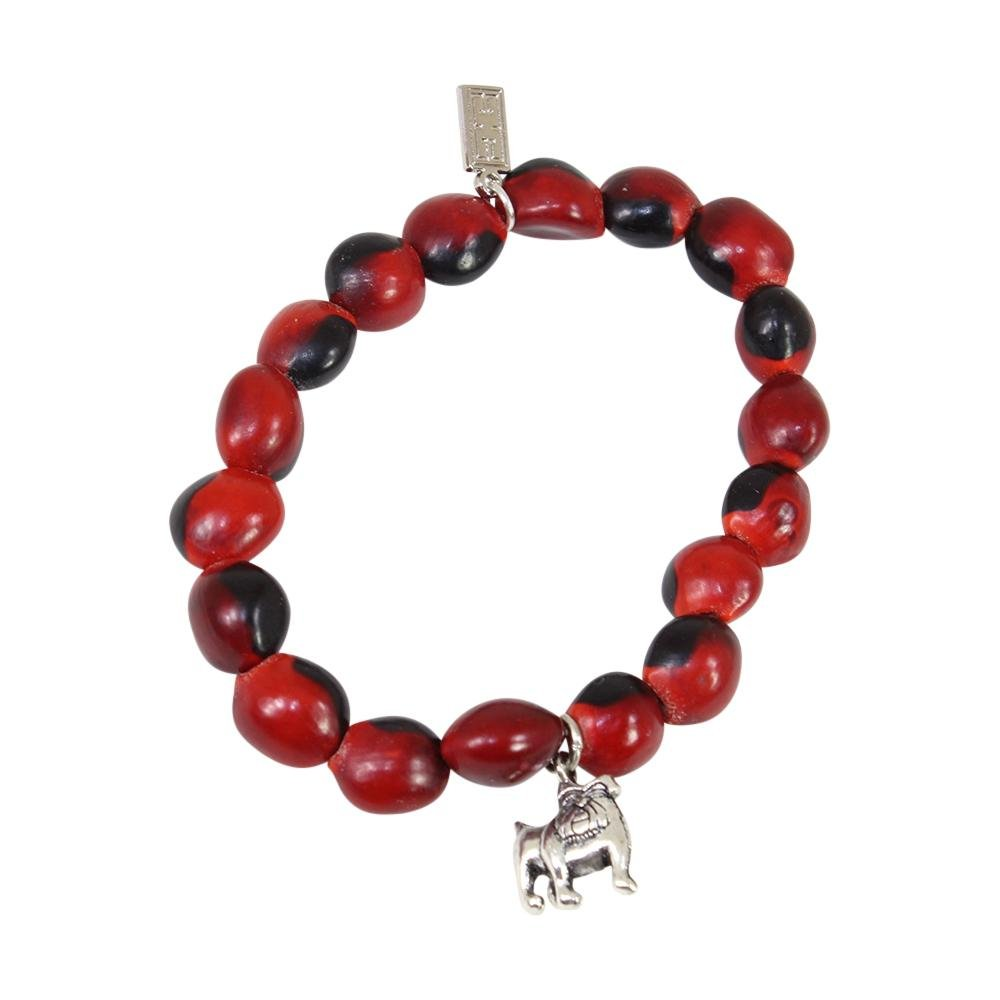 English Bulldog Charm Stretchy Bracelet w/Meaningful Good Luck, Prosperity, Love Huayruro Seeds - EvelynBrooksDesigns