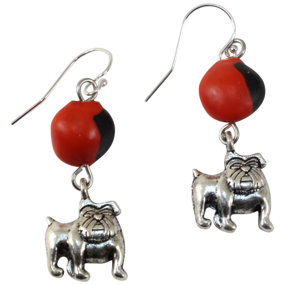 English Bulldog Dangle Silver Earrings w/Meaningful Good Luck Huayruro Seeds - EvelynBrooksDesigns