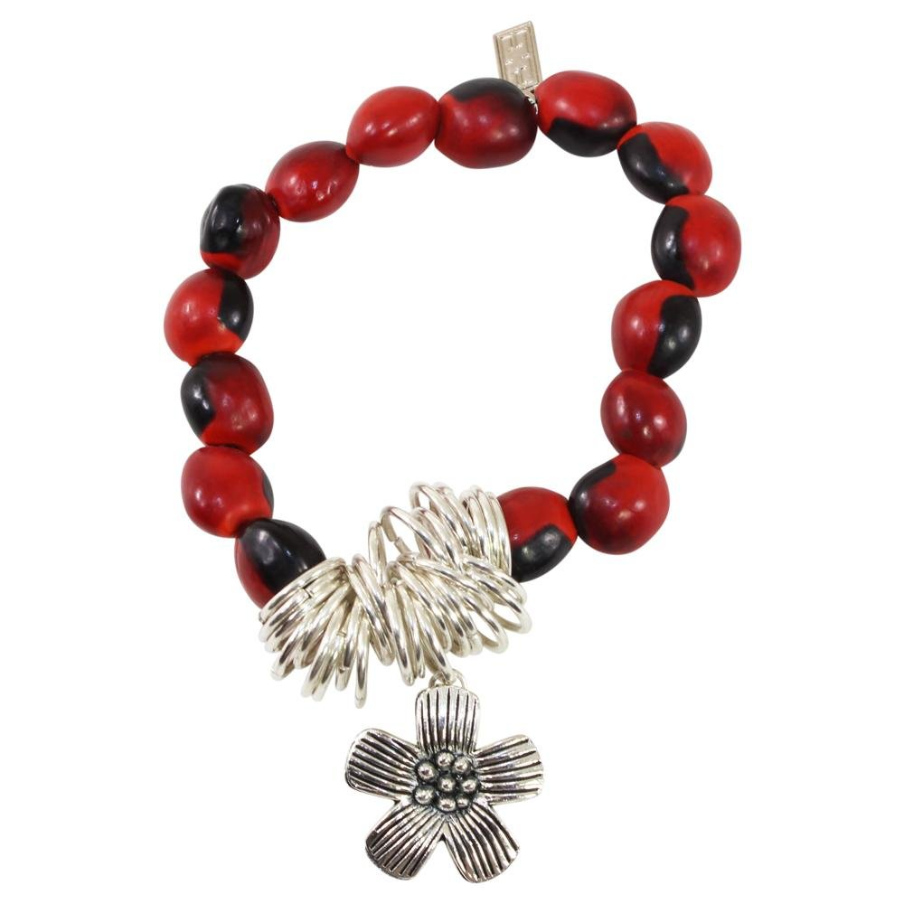 Flower Charm Stretchy Bracelet w/Meaningful Good Luck, Prosperity, Love Huayruro Seeds - EvelynBrooksDesigns