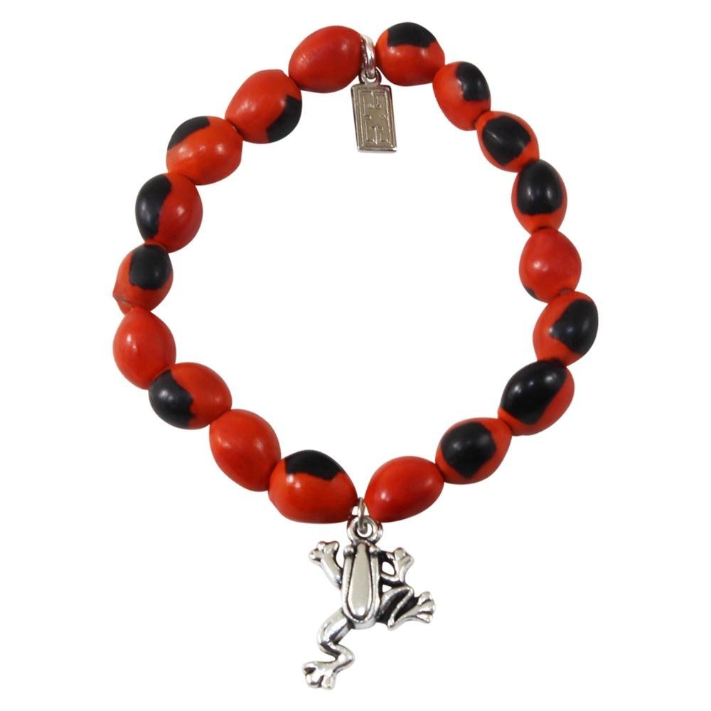 Frog Charm Stretchy Bracelet w/Meaningful Good Luck, Prosperity, Love Huayruro Seeds - EvelynBrooksDesigns