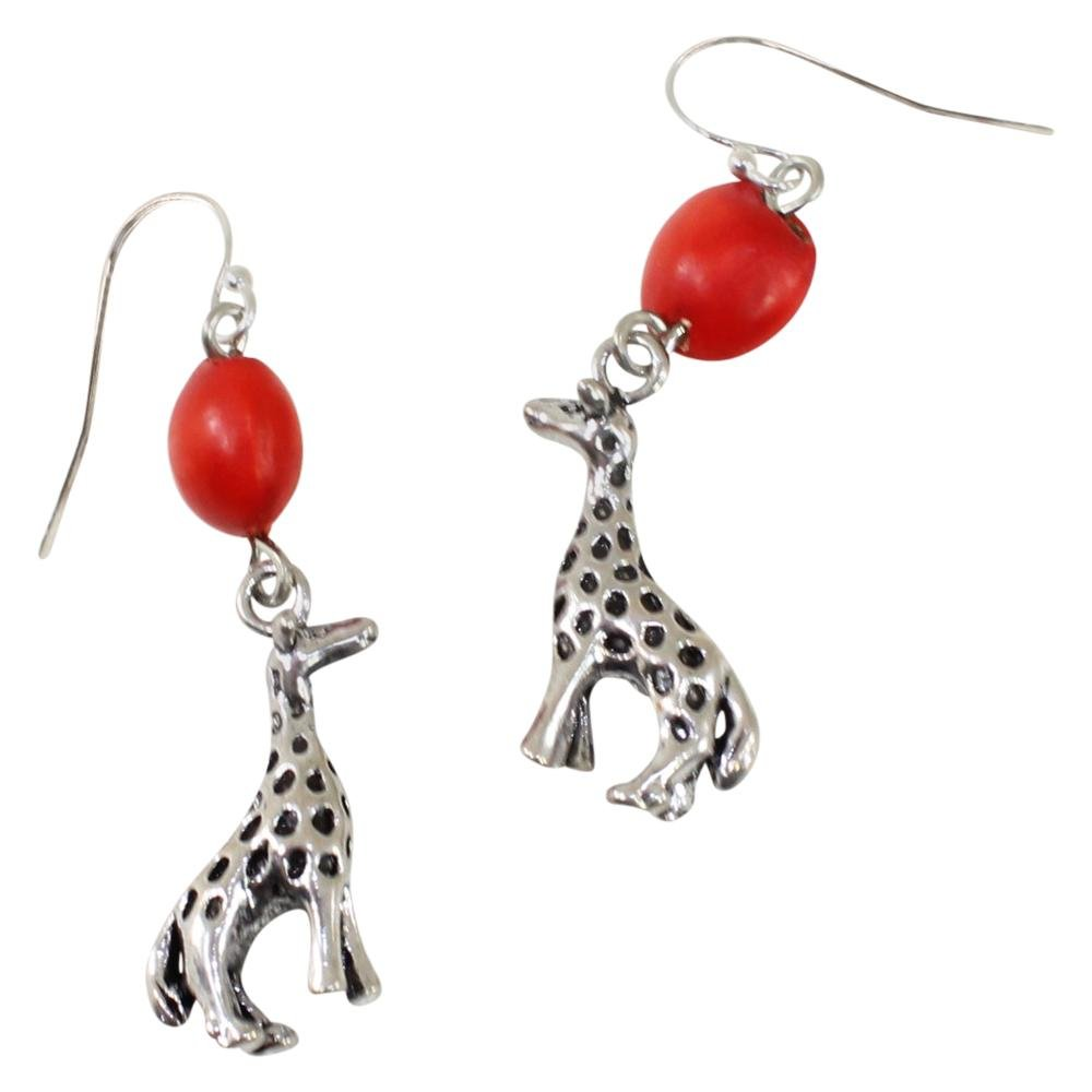 Giraffe Dangle Silver Earrings w/Meaningful Good Luck Huayruro Seeds - EvelynBrooksDesigns