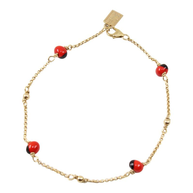 "Gold Filled 18kt Classic Adjustable Bracelet w/Red & Black Seed Beads 6.5""-7.5"" - EvelynBrooksDesigns"