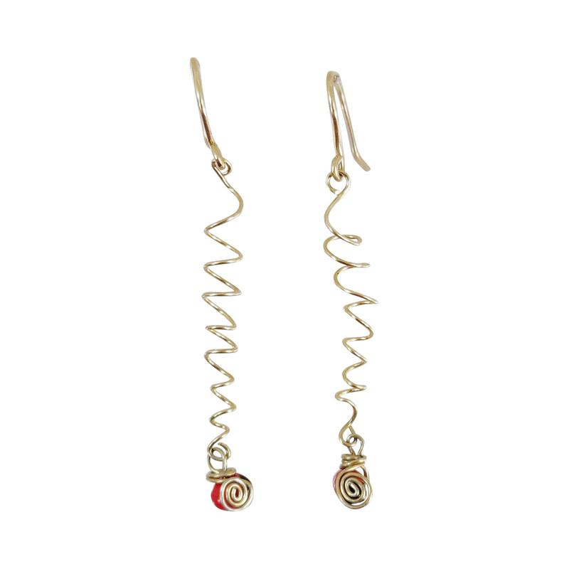 Gold Filled Dangle Long Drop Red Good Luck Earrings - EvelynBrooksDesigns