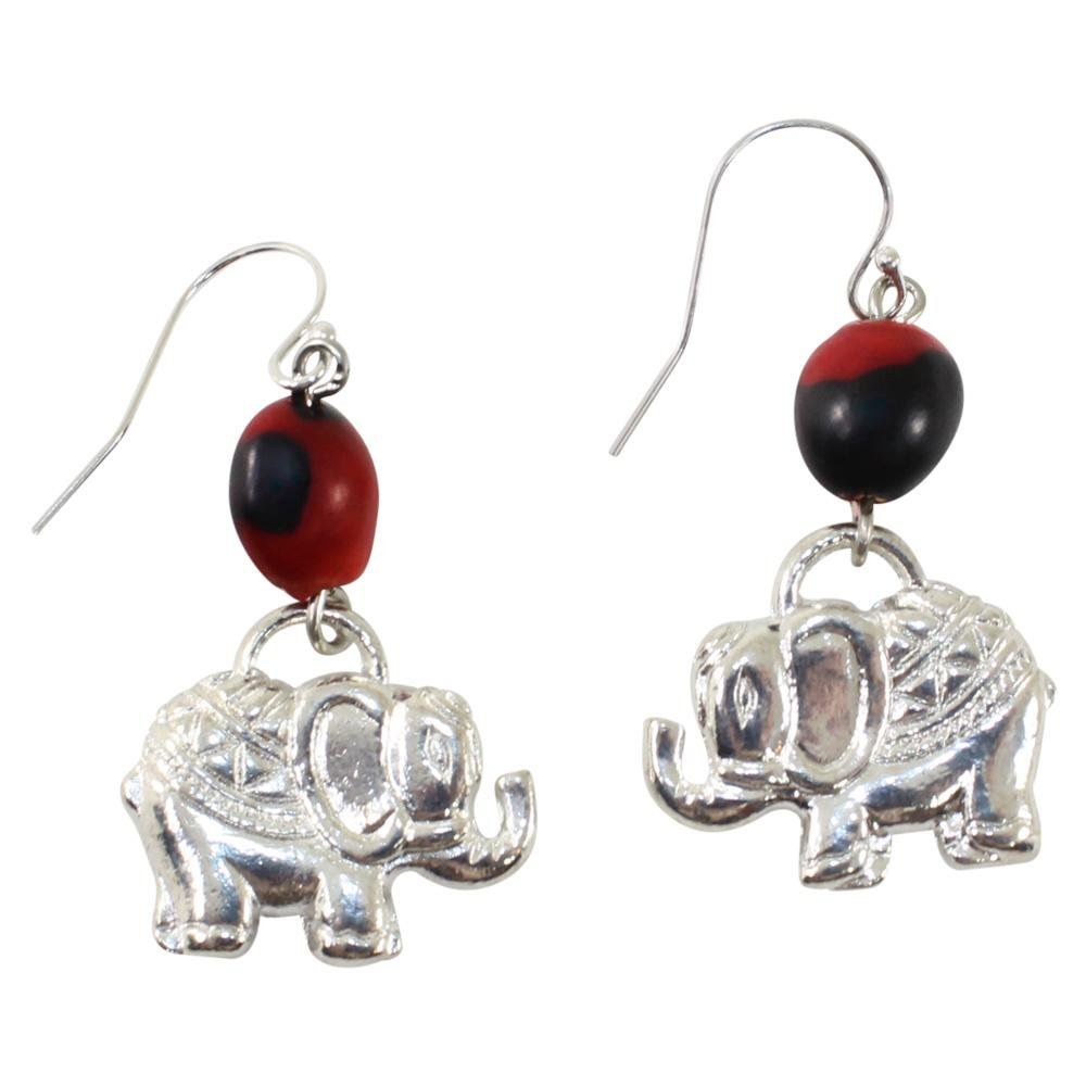 Good Fortune Elephant Dangle Silver Earrings w/Meaningful Good Luck Huayruro Seeds - EvelynBrooksDesigns