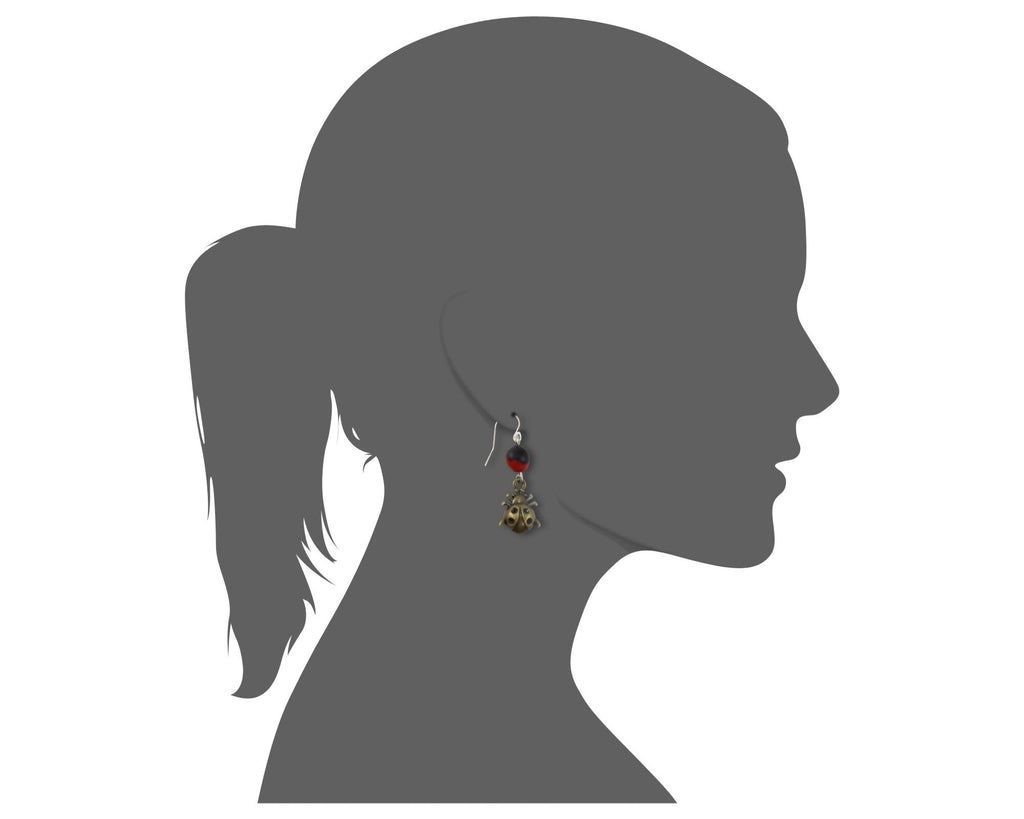 Good Fortune Ladybug Dangle Silver Earrings w/Meaningful Good Luck Huayruro Seeds - EvelynBrooksDesigns