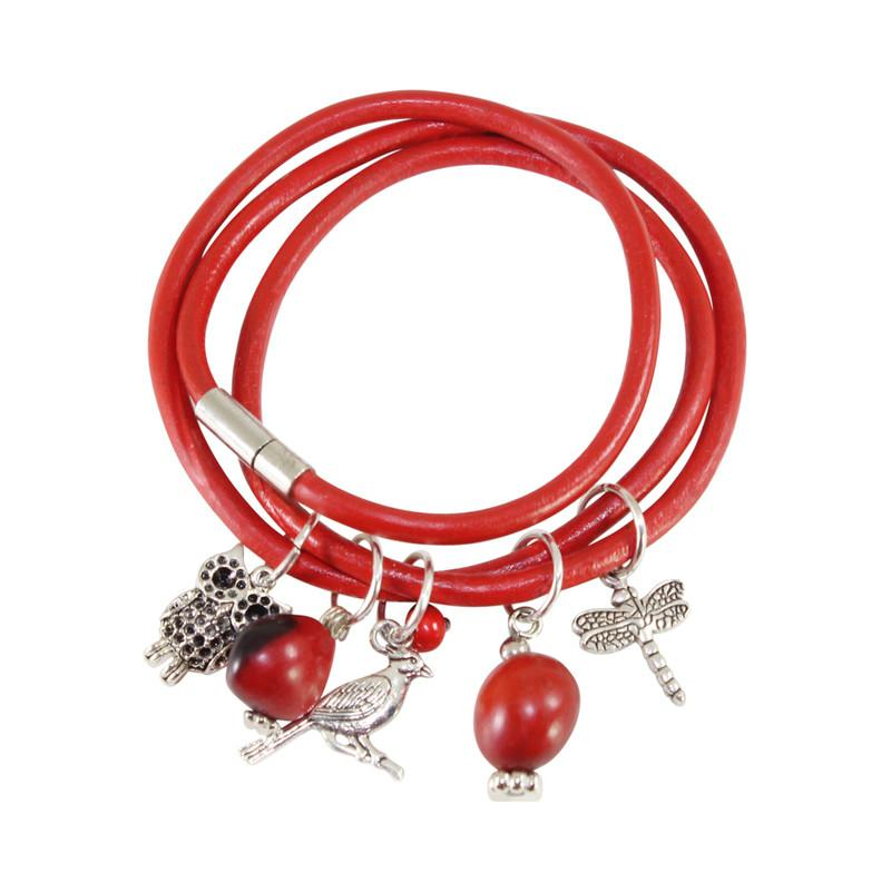 Good Luck Multi-Charm Leather Adjustable Bracelet/Necklace with Red & Black Seed Beads - EvelynBrooksDesigns