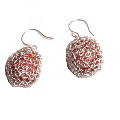 "Good Luck Red Dangle Drop Red Earrings for Women w/Meaningful Seed Beads 1"" - EvelynBrooksDesigns"