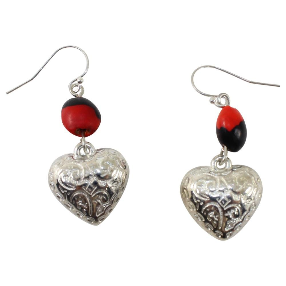 Heart, Love & Friendship Powerful Alligator Dangle Silver Earrings w/Meaningful Good Luck Seeds - EvelynBrooksDesigns