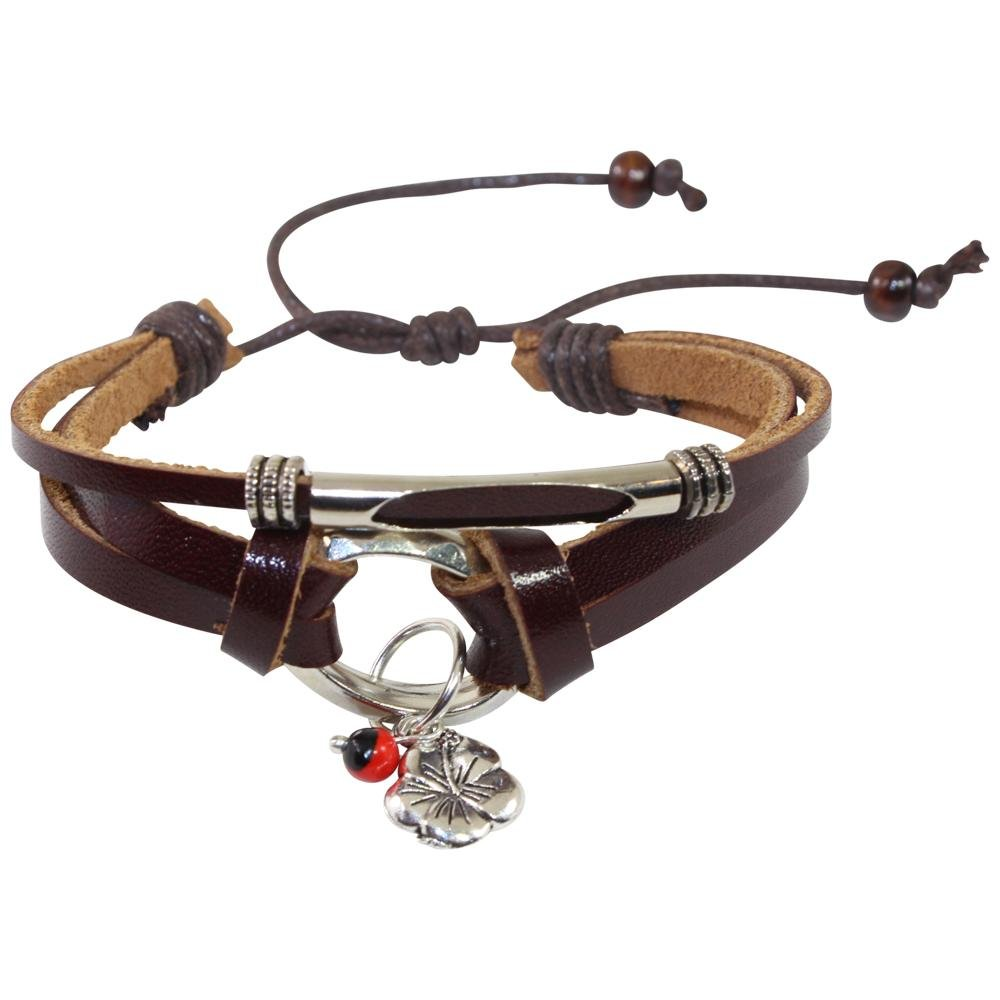 Hibiscus Charm Adjustable Leather Bracelet for Women w/Huayruro Seed - EvelynBrooksDesigns